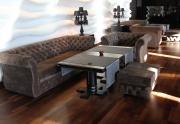 Restorano baldai (Sofa,  fotelis su įtraukimais)